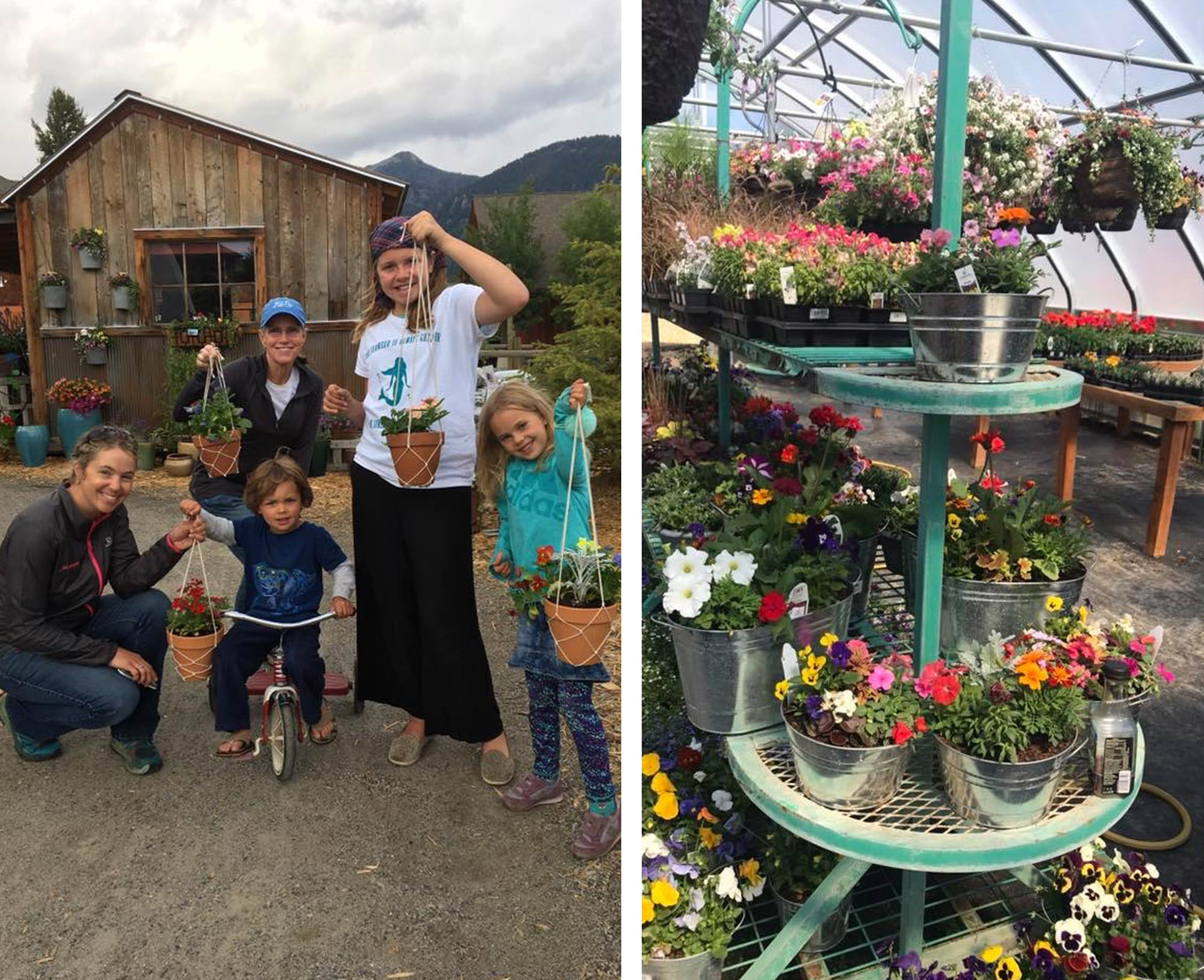Image of people holding up hanging baskets from the garden center